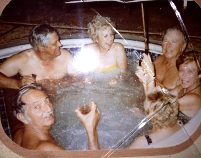 My 60-something grandparents, hot tubbing with friends.